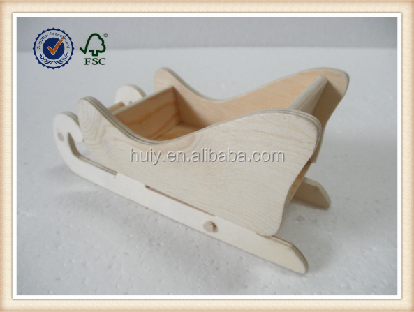 Wooden Christmas gifts wooden craft mini snow sled