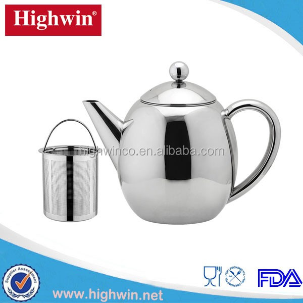 2017 FDA LFGB Double Wall Stainless Steel coffee TeaPot with Strainer