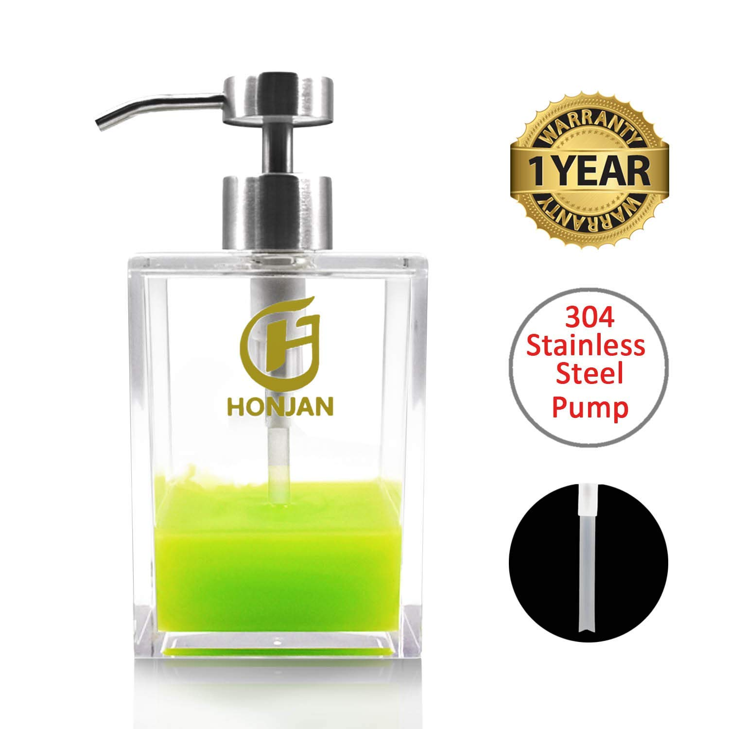 HONJAN Hand Dish Soap Dispenser 18oz Acrylic Clear Bath 18/8(304) Stainless Steel Pump for Kitchen Bathroom