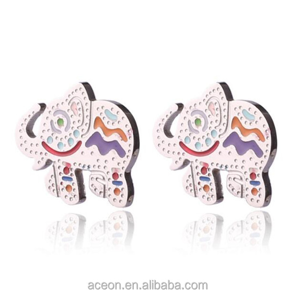 Yiwu Aceon Stainless Steel Custom Shape Animal Colorful Enamel Elephant Earring