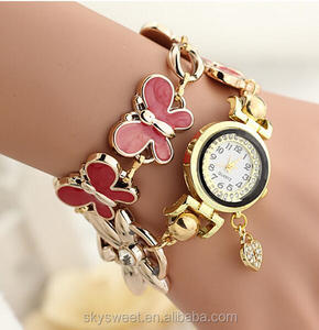 New shape butterfly enamel technique heart charm quartz bracelet watch,lady watch fashion watch(PR546)