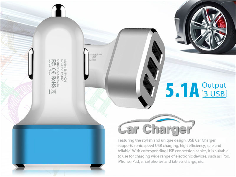 Usb Car Charger Adapter 3 Port Output 2.1a/2.0a/1.0a With Power Iq ...