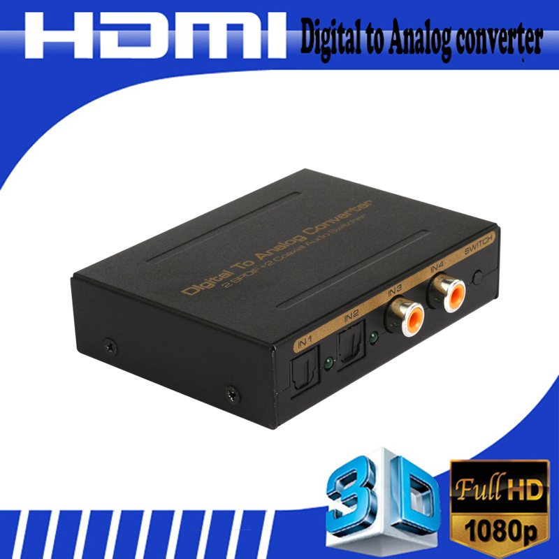 Digital Audio Optical Coaxial To Analog Audio RCA 3.5mm Audio Optical Converter Box