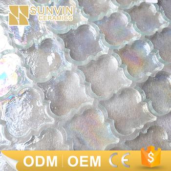Lantern Shape White Iridescent Water Jet Gl Mosaic Tile Molds Product On