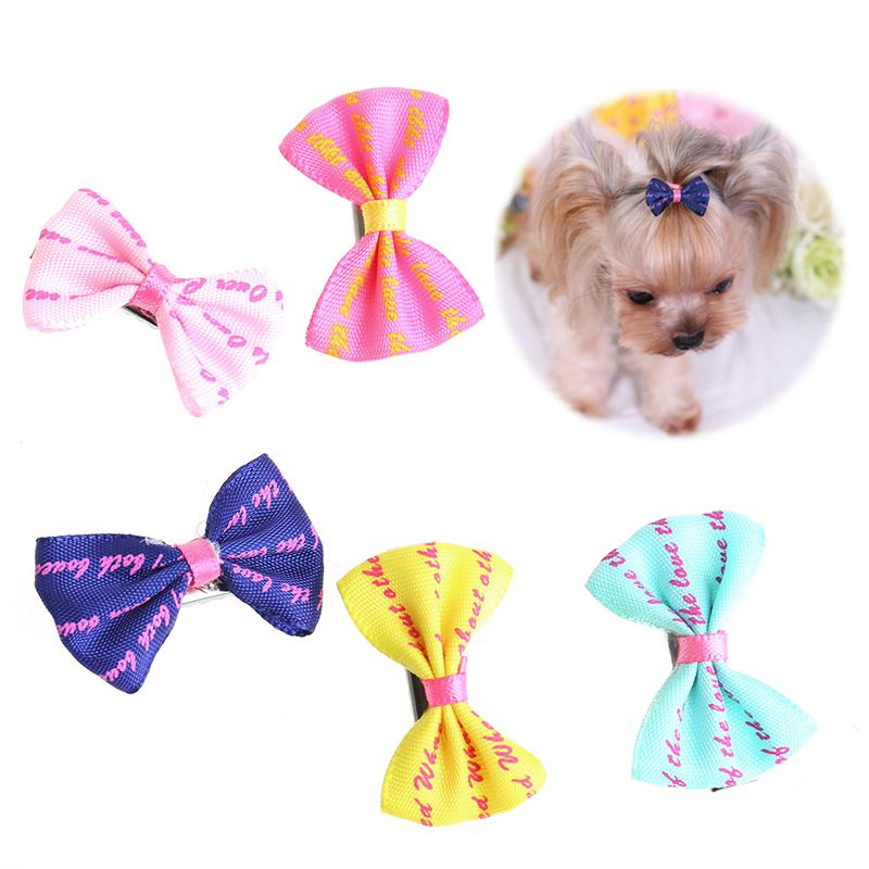 5Pcs Beauty Pet Grooming Accessories Colorful Cat Dog Hair Bows Hair Clips -W2 10