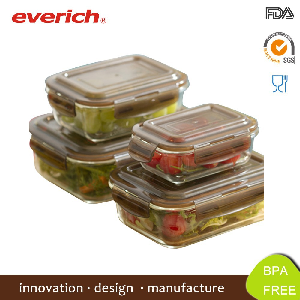 Microwave Safe Square Borosilicate Glass Lunch Box For Office