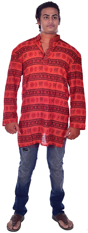 Lakkar Havali Indian 100/% Cotton Men/'s Shirt Loose Fit Shirt Kurta Gray Color Plus Size Half Sleeve
