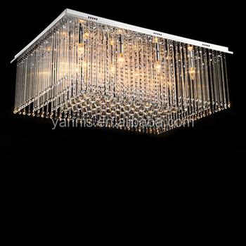 K9 Crystal Steel Base Rectangle Crystal Ceiling Lighting Lamp Modern ...