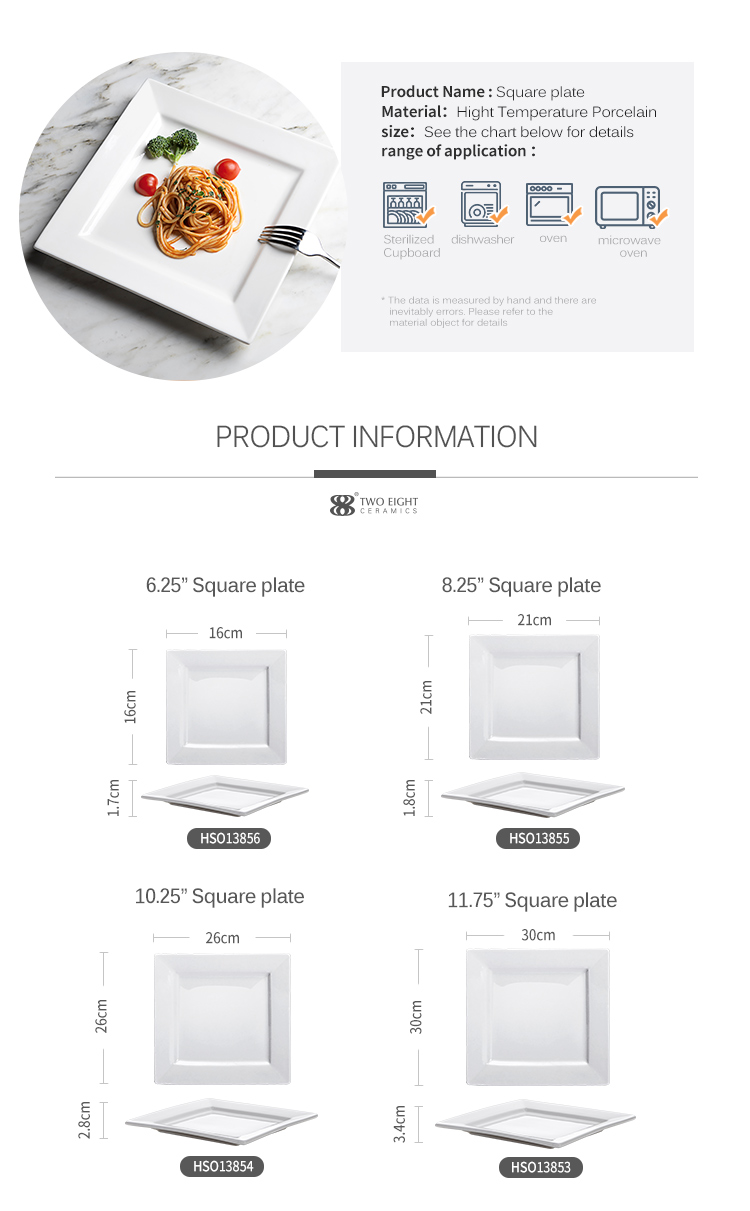 Wholesale Good Quality White Porcelain Dinner Plate Sets, Stock Hotel Even White Square Ceramic Pasta Dish/