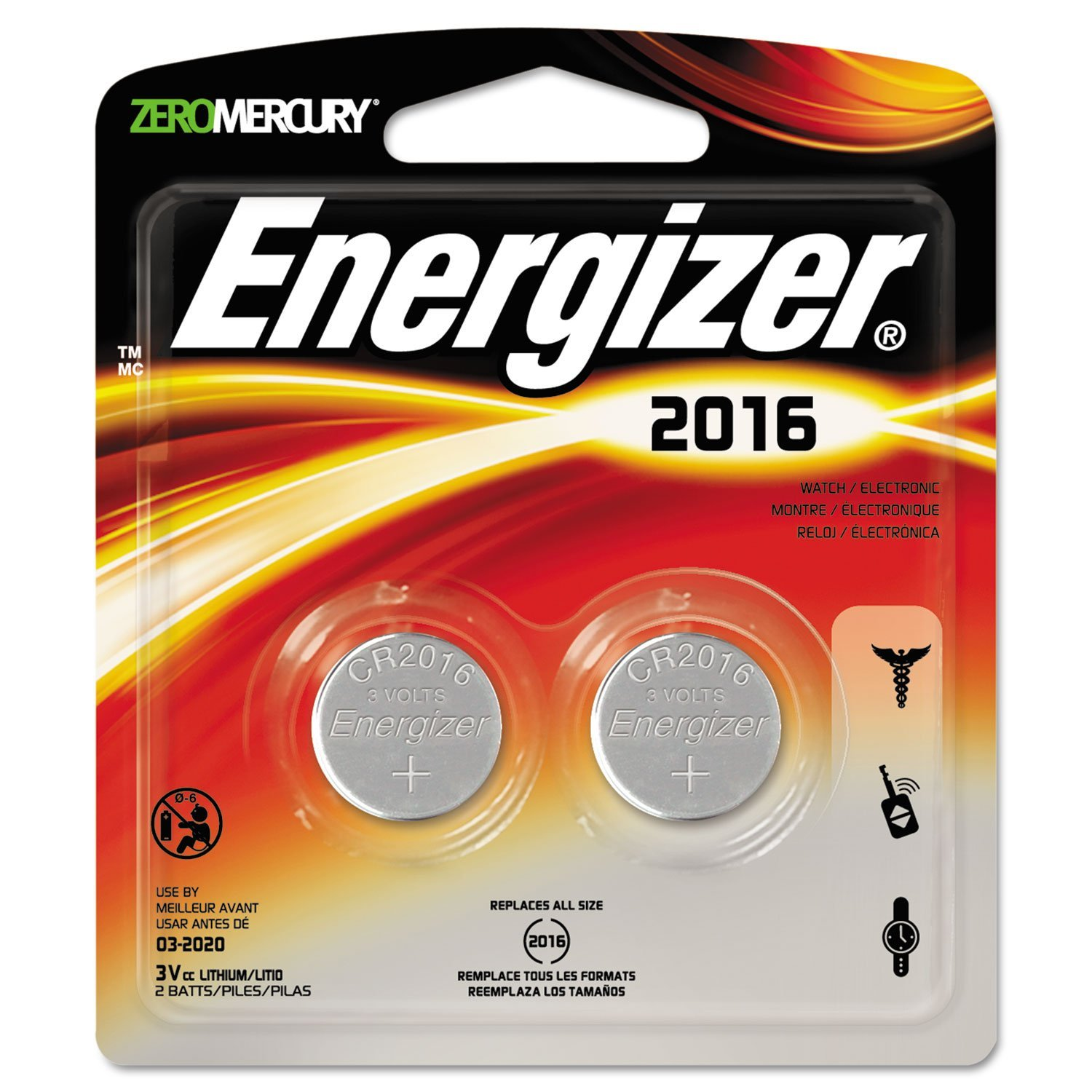 3 X Energizer Products - Lithium Batteries, 3.0 Volt, For CR2016/CR2016/SBT-11/LF1/4V - Sold as 1 CD - Lithium 3.0 volt batteries are designed for use in watches, calculators, PDAs, electronic organizers, keyless entry devices, LED lights, sporting goods such