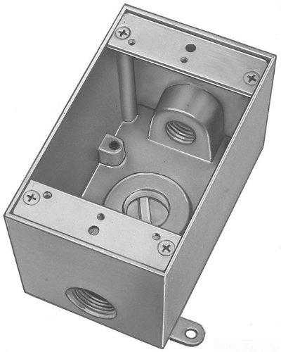 Red Dot IH3-1-LM Device Outlet Box, 1 Gang, 3 Hub, 2-13/16-Inch Width by 2-Inch Depth by 4-9/16-Inch Height, Silver