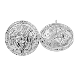 high quality micro pave 925 sterling medusa men silver cz earring