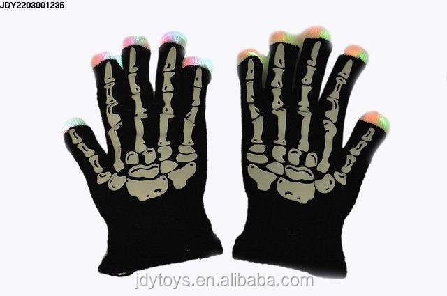 Halloween party toy luminous skull design flashing gloves,flash gloves halloween toy