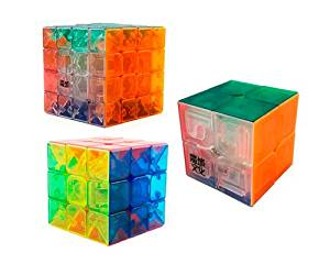 Moyu Stickerless Transparent Puzzle Magic Cube Set (Included 2x2x2 YJ Moyu Lingpo Magic Cube + 3x3x3 Moyu Magic Cube + 4x4x4 Moyu Aosu Magic Cube) Creative Birthday Christmas Valentine Thanksgiving