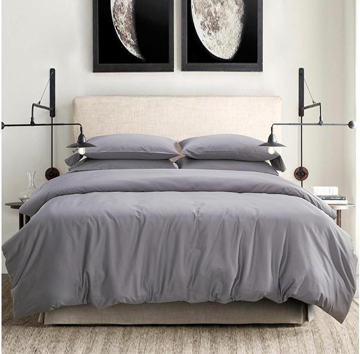 Light Grey Gray 100% Egyptian Cotton Bedding Set King