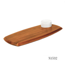 Restaurant uesd Natural food serving acacia wooden food plate