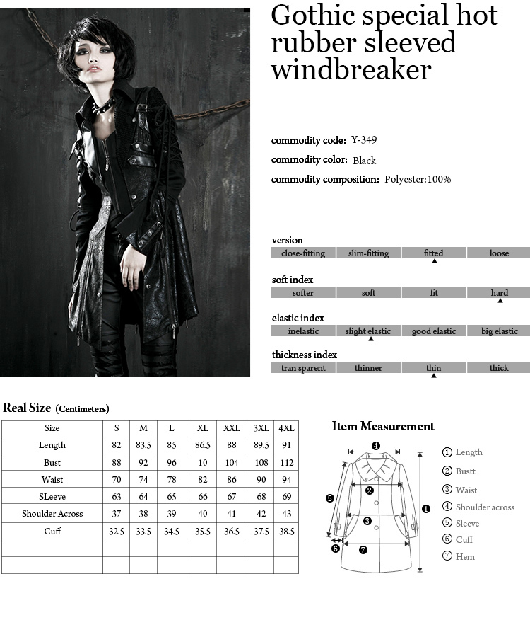 Y-349 Fashion Gothic/ Punk Leather Long coat From Punkrave
