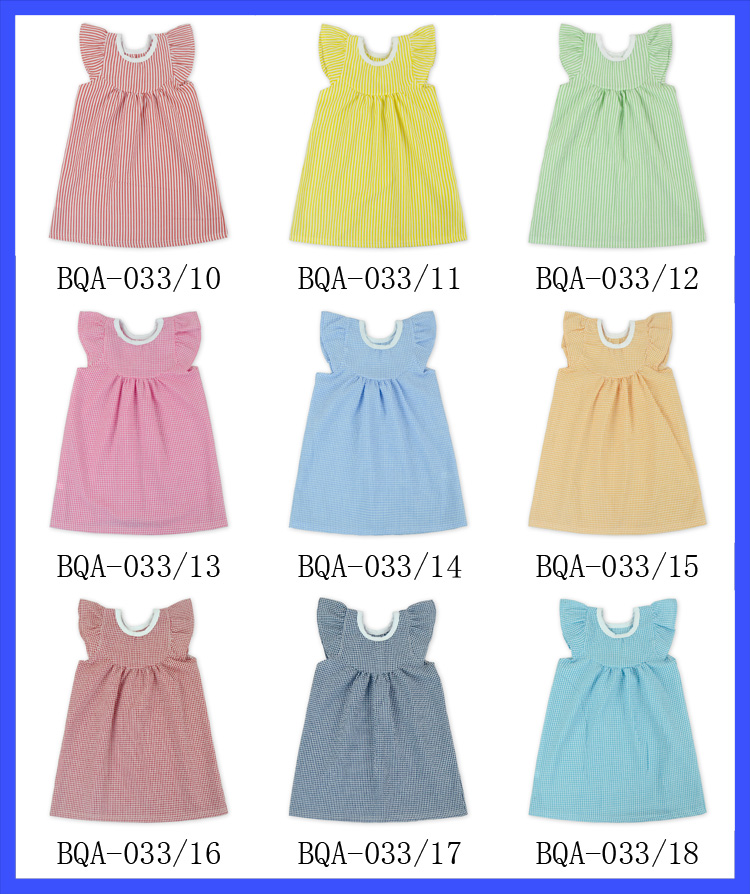 2016 new baby Seersucker Fabric dress birthday dress for girl of 7 years old 3-5 year old girl dress beautiful girl without dres