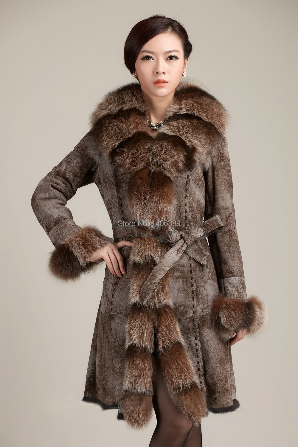 Womens rabbit fur coat