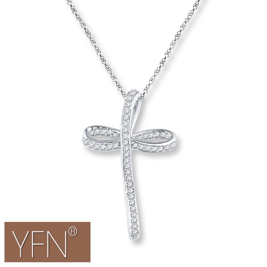 Unique Design Religious Jesus Sterling Silver Crystal Cross Necklace