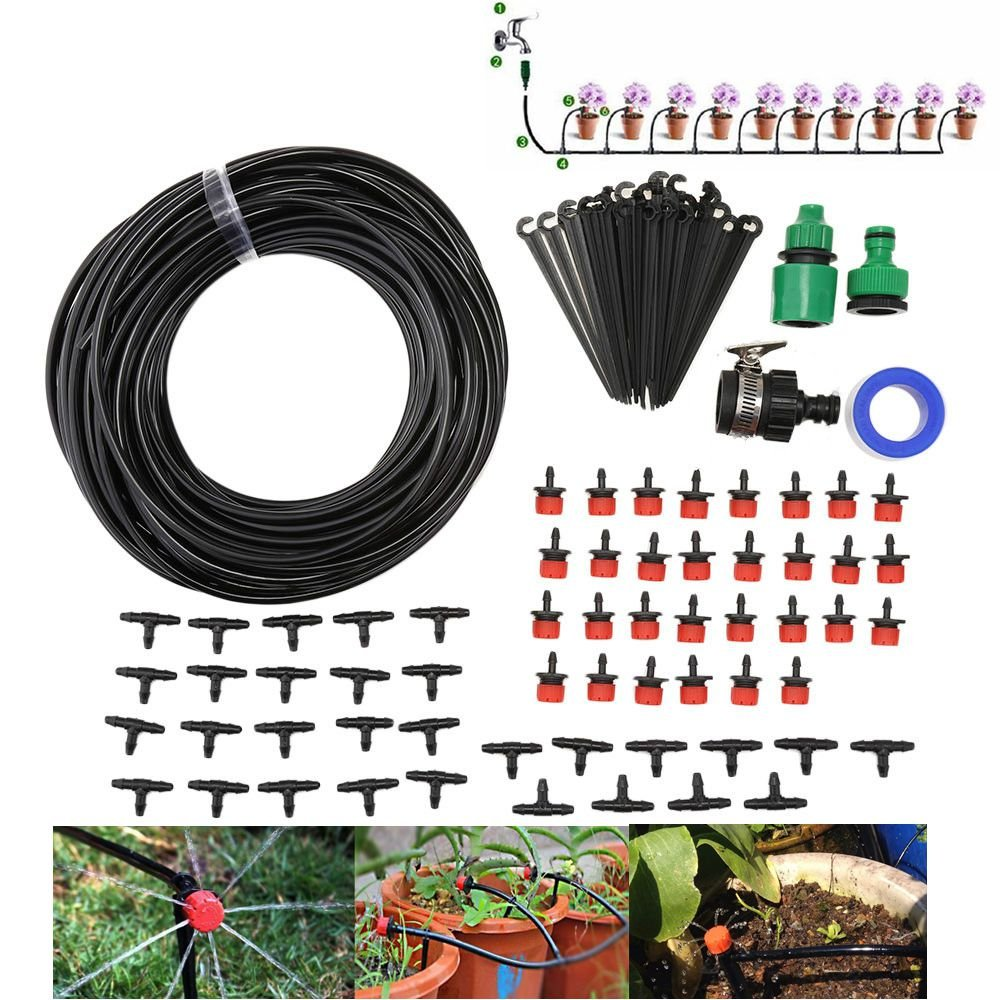 Lysport 93 in 1 DIY Micro Irrigation Drip System-Tubing Watering Drip Kit, Irrigation Spray for Patio Garden Flower Plants (82ft Pipe)