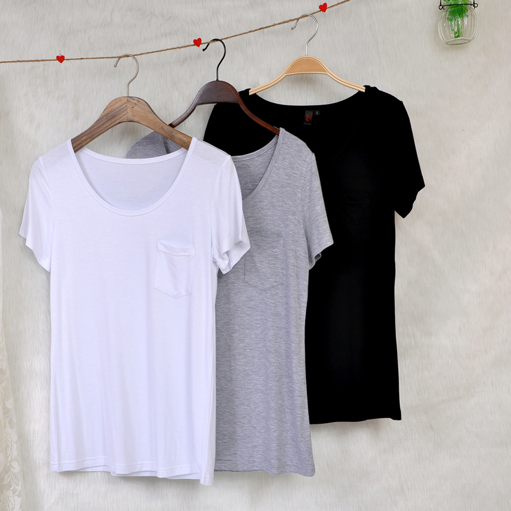 Loose White T Shirt Pocket Wholesale Blank Organic Cotton