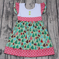 New design baby girls wholesale boutique dresses kids clothes Christmas party tree dress smock one-piece Xmas skirts outfit cute
