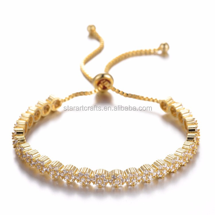 Trendy 18k gold plated stainless steel bangle saudi arabia jewelry crystal adjustable bangle bracelets wholesale