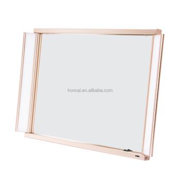 Professionnel Led Eclairage Miroir De Maquillage Miroir Grossissant Lampe Miroir Moderne Avec Cadre En Aluminium Et 2 Pcs Tubes Lumineux Buy