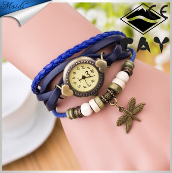 Wholesales reloj de pulsera Dragonfly Antique Vintage Watches for Women Leather Strap Luxury Watch Bracelet Wristwatches VW012