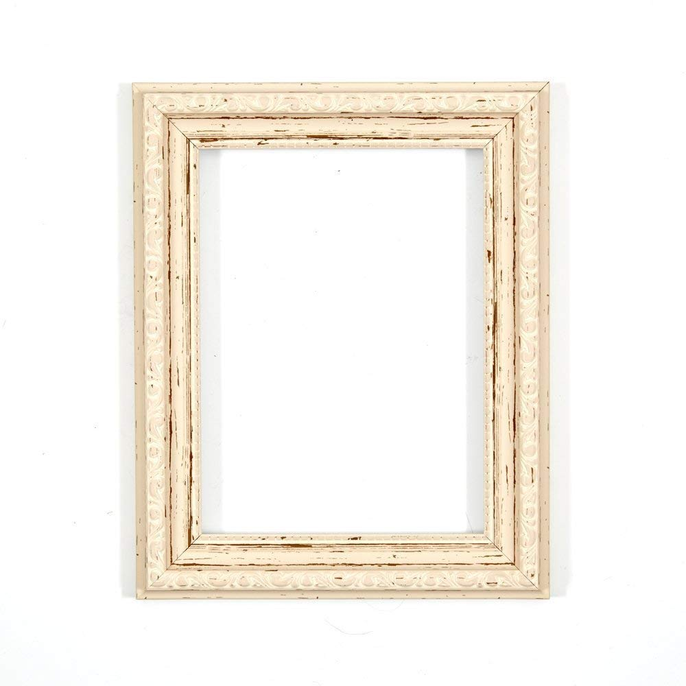 "Paintings Frames Ornate Shabby Chic Picture Frame Photo Frame Poster Frame MDF Backing Board & High Clarity Styrene Shatterproof Perspex Sheet Hang Stand 14""X11"" Distressed White"