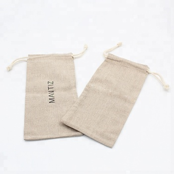 Best selling small linen fabric silk screen printing drawstring bags