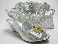 New design of silver wedding diamond high heel shoes