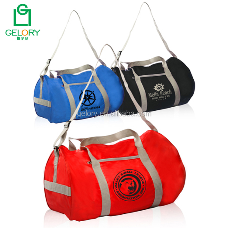 Personalized lightweight polyester portable shoulder style gym sport duffel bags