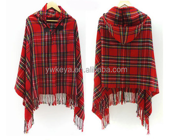 c520d93fc 2016 Women Poncho Cashmere Wool Scarf Poncho Cape ,Latest Design Winter  Check Blanket Poncho