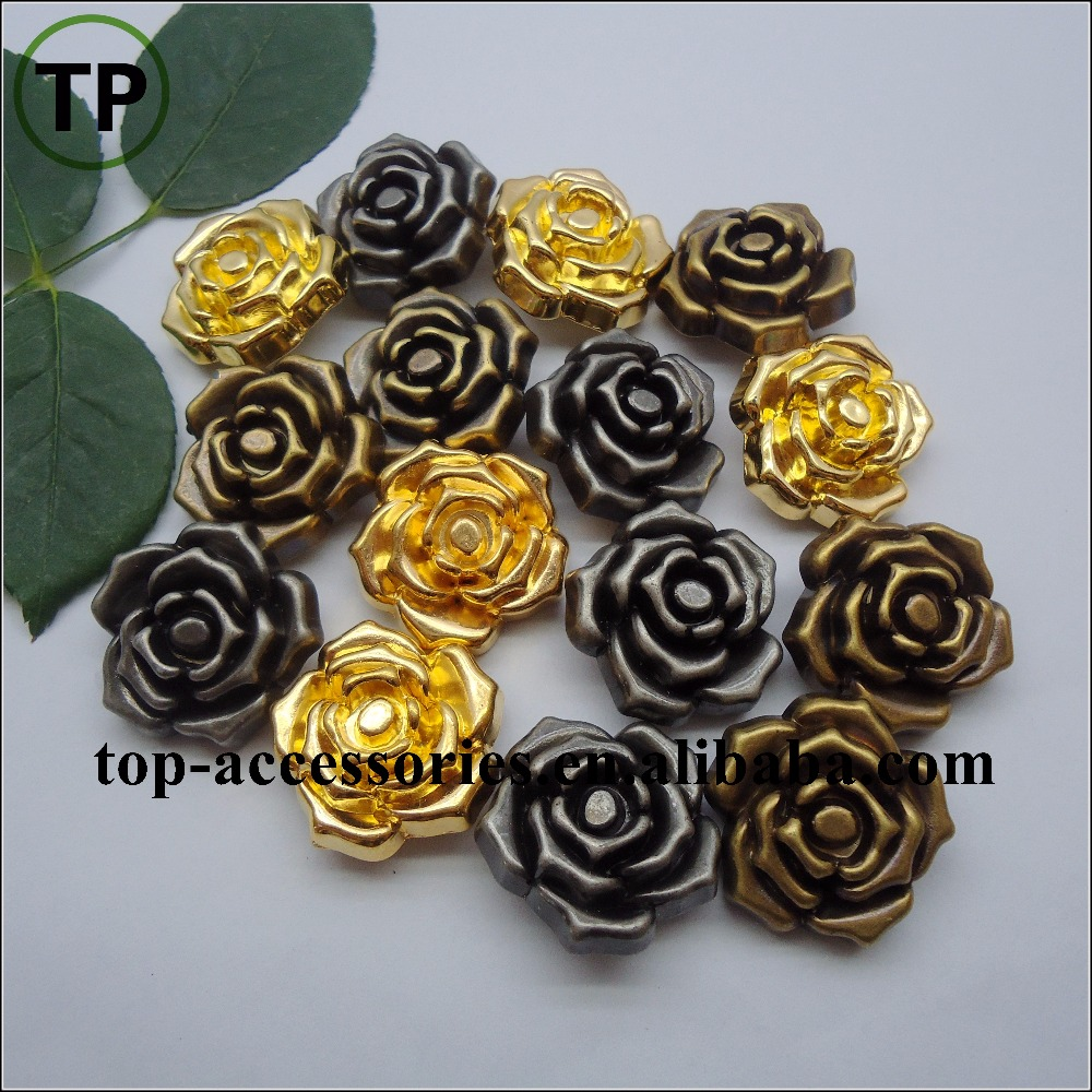 Metal color plastic plating rose flower button for woman coat