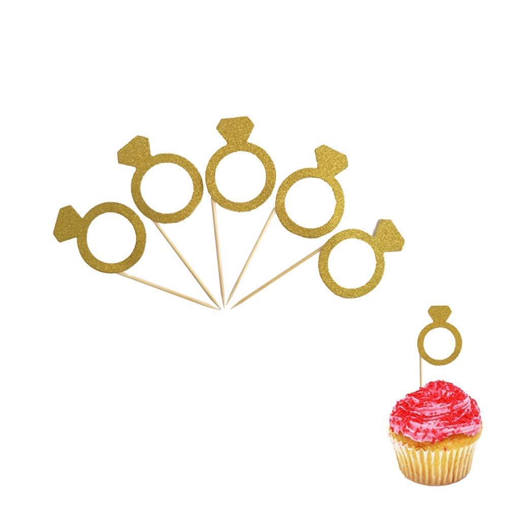Gold Glitter Mini Diamond Ring Cupcake Toppers,For Baby Shower Party Girls Birthday Table Decoration Graduation Marriage Engagement Anniversary Birthday Valentines Party Cake Decorations 50 pcs