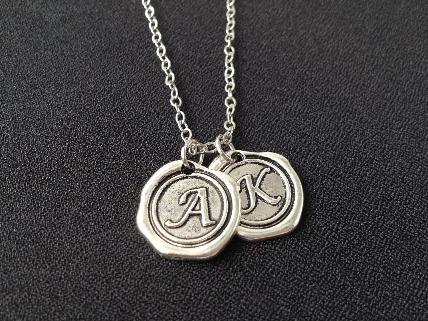 2 Initial Necklace,Wax Seal Necklace,Custom Necklace,Monogram charms,Personalized Necklace,Monogrammed Gifts