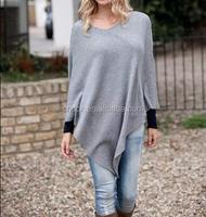 15JW0240 women 100% cashmere poncho wrap sweater