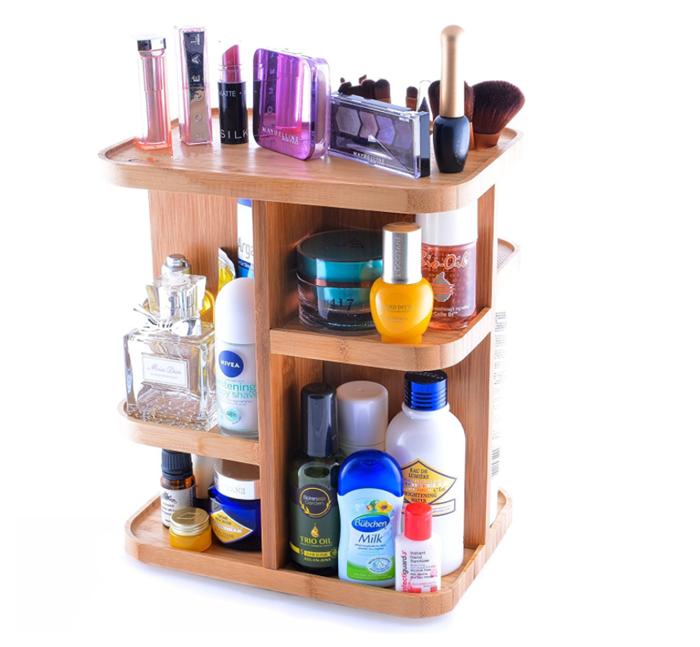 360 Berputar Bambu Kosmetik Organizer Termasuk Makeup Aksesoris