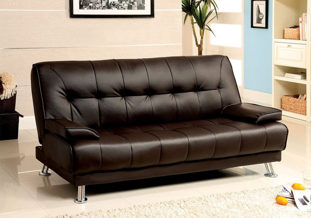Get Quotations · 1PerfectChoice Beaumont Adjustable Sofa Bed Futon Sleeper  Plush Dark Brown Leatherette Metal