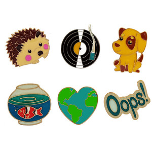 Wholesale 1Pc Cute Hedgehog/Dog/Record/Goldfish/Oops Design Metal Brooches Pins Hats Clips Enamel DIY Lovely Cartoon Gift
