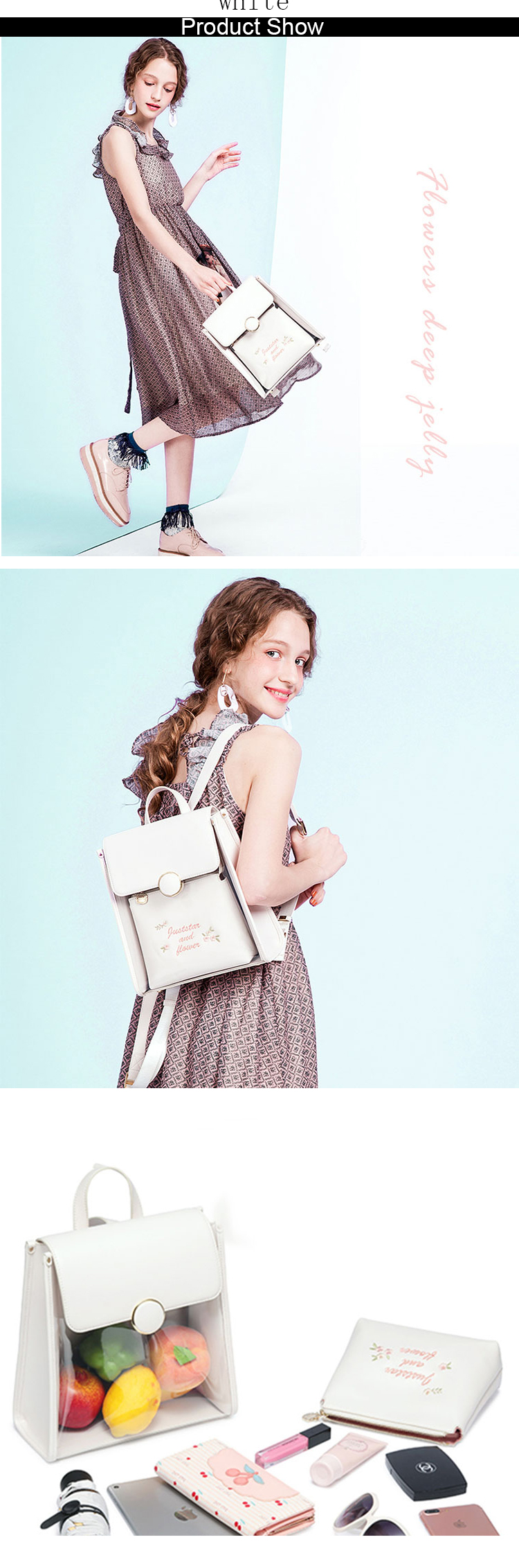 oem summer style personalized cute ladies stylish pvc clear transparent backpacks