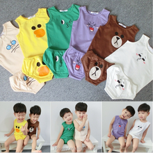 KS10073B Very lovely animal pattern 1-5 years boys clothing set kid clothes 2016 summer