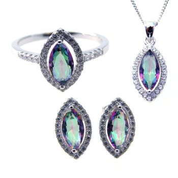High Quality 925 Sterling Silver Mystic Topaz Jewelry Set Bridal Jewelry Set Wholesale DR0301261S