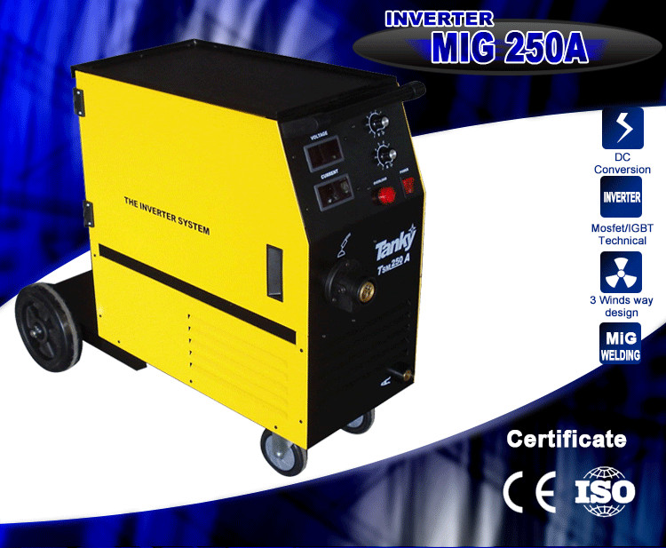 CE Approved High Quality Wire Feeder Compact Single Phase CO2 Gas Shielded Mig250 Inverter MIG WELD