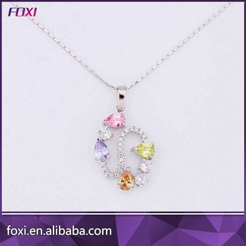 2017 new cz pave setting glass phoyo pendant necklace for daily wearing
