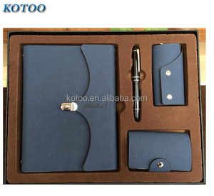 Leather notebook and key chain set with notebook and pen set,notebook gift set