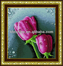 Resin diamond painting with pinke rose for home decration