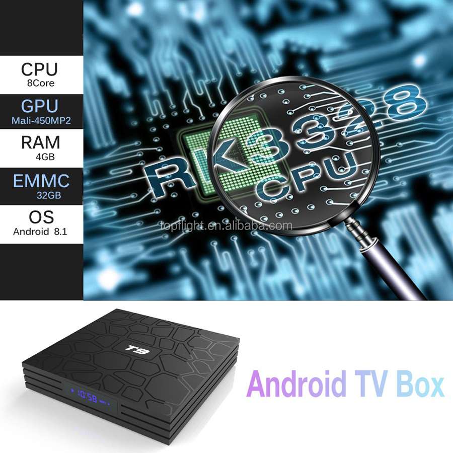 T9 RK3328 Octa Core Android 8.1 Smart TV BOX 4 gb 32 gb Bluetooth4.0 H2.65 4 k 2.4 ghz/ 5 ghz WIFI Set-top box Media Player